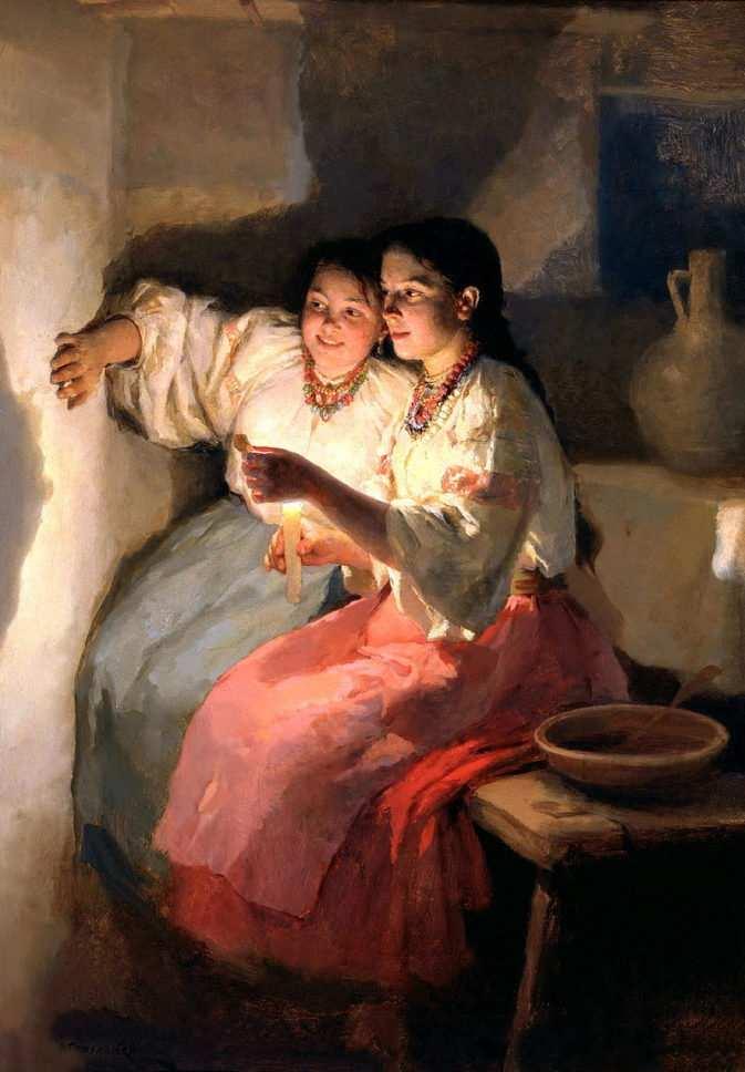 Николай Пимоменко, «Святочное гадание», (1888)